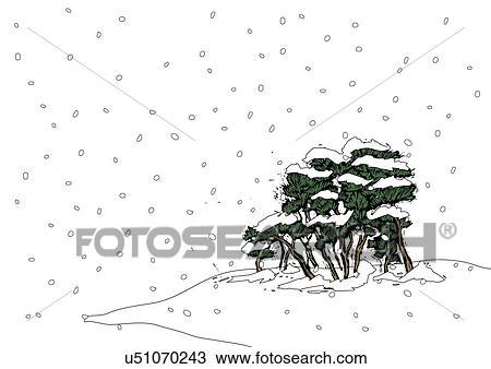 手绘图 - 树, 覆盖, 带