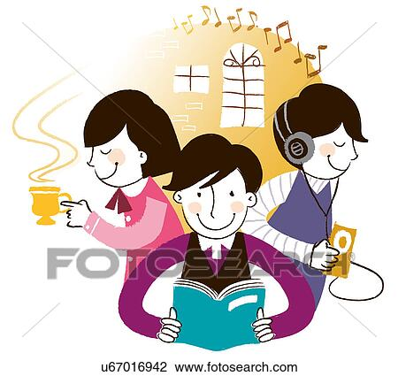 Clip Art of Group of people spending leisure Time ...