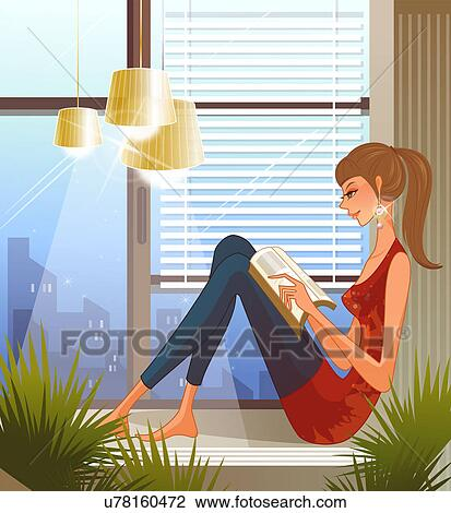 Clip Art Of Woman Sitting On Window Sill Reading Book