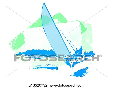 Clip Art Of Windsurfing U13520732