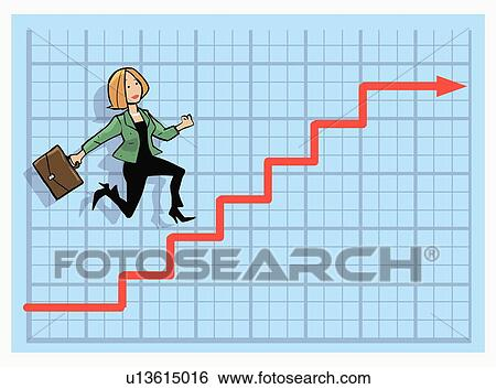 Stock Illustration of Woman climbing stock market chart ...