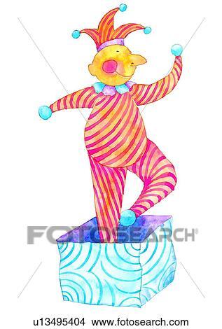 dessins peinture aquarelle anniversaire clown u13495404 recherche de clip arts d. Black Bedroom Furniture Sets. Home Design Ideas