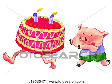 Watercolor Cake Clip Art : Clipart of painting, watercolor, birthday, pig, cake ...