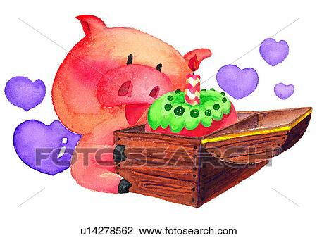 Clip Art of painting, birthday, watercolor, cake, pig ...