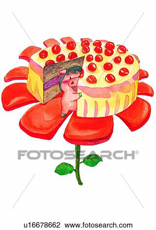 Watercolor Cake Clip Art : Clip Art of watercolor, birthday, painting, pig, cake ...