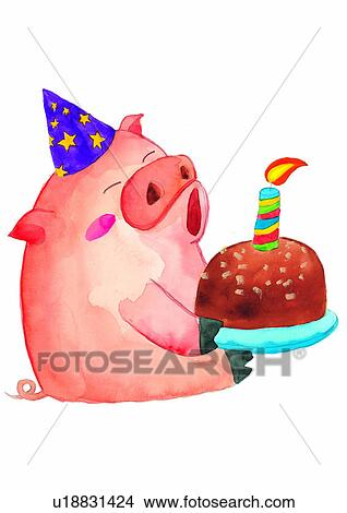 Watercolor Cake Clip Art : Drawings of pig, painting, candle, cake, watercolor ...
