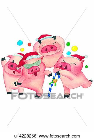 Stock Illustration of Christmas, celebration, pig, painting ...