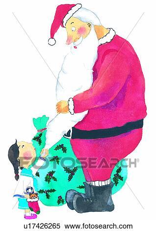 Gemälde clipart  Stock Illustration - weihnachten, weihnachtsmann, aquarell ...