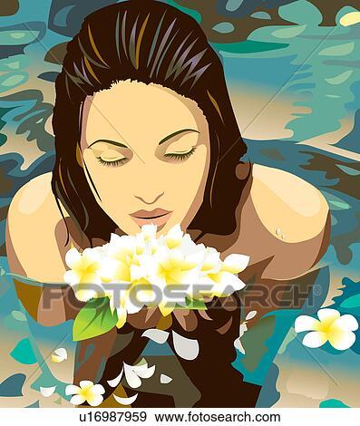 Stock illustration bambus barfu bett braunes haar - Braunes bett ...