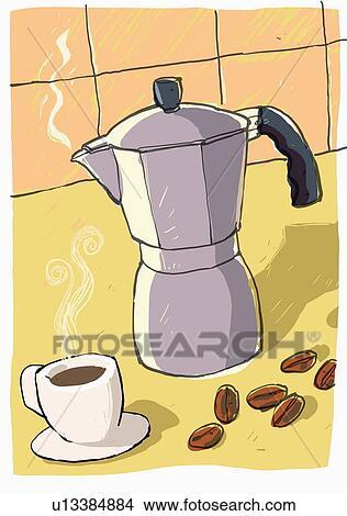 Dessins pot caf et tasse caf u13384884 recherche - Dessin tasse a cafe ...