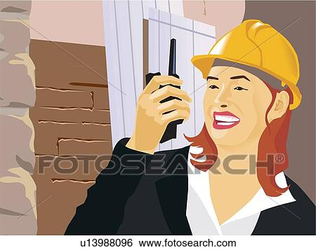 Stock illustration of close up view of an architect using