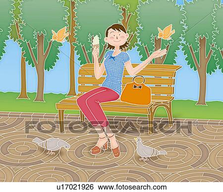 Stock Illustration Of A Young Adult Woman Sitting On A