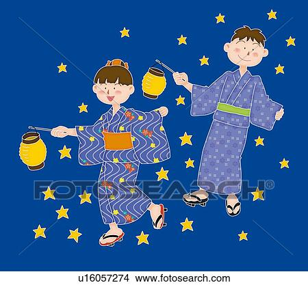 Drawings of Boy and girl playing in summer night ...