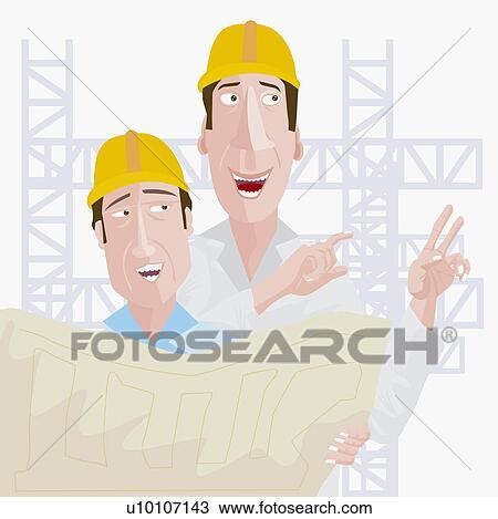 Disegno primo piano di due lavoratori costruzione for Disegno del piano di costruzione