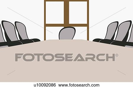 Stock Illustration Of Table And Chairs In An Empty Conference Room - Conference room table and chairs clip art