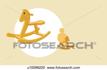 Horse Sitting Drawing Sitting on a Rocking Horse