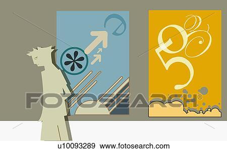 banque d 39 illustrations personne debout devant a compteur billet u10093289 recherche de. Black Bedroom Furniture Sets. Home Design Ideas