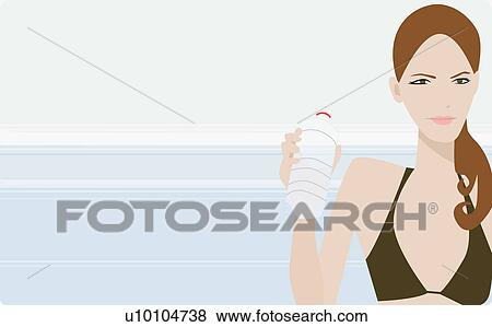 Stock Illustration of Portrait of a young woman holding a ...