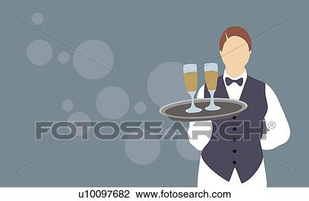 Clip Art of Waitress holding a tray with two champagne ...