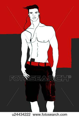 Clip Art of Bare chested young man with mp3 player around neck ...