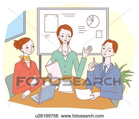 Stock illustratie conferentie u26169756 zoek clipart tekeningen fine art prints - Muurschildering volwassen kamer ...