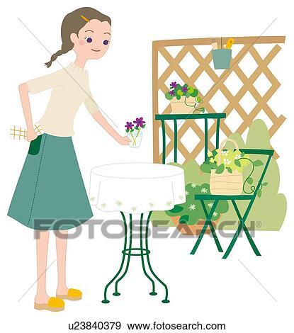 Banque d 39 illustrations femme qui fait jardinage for Technique jardinage