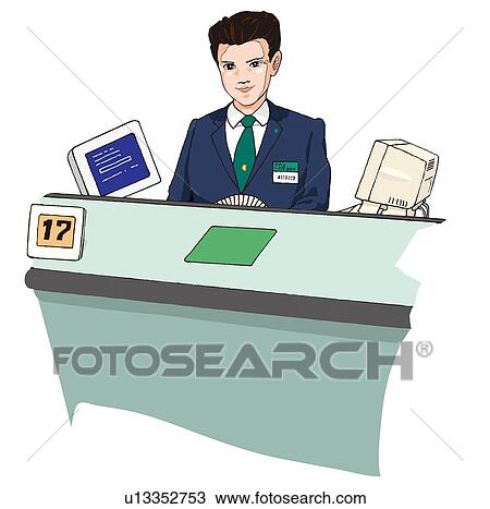 Drawing business man at bank desk illustration fotosearch search