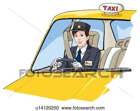 イラスト - 女性, タクシー運転手, 運転, ... - 女性, タクシー運転手, 運転, イ