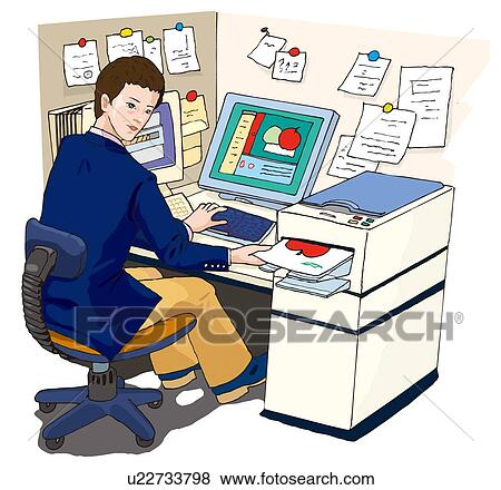 Bürotisch clipart  Stock Illustration of Business man working at his desk ...