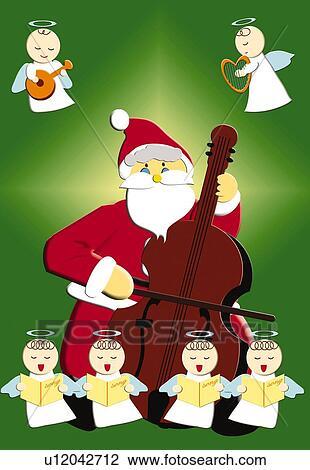 Gemälde clipart  Clip Art - gemälde, von, weihnachtsmann, spielender, cello, mit ...