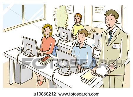 clip art of teacher and students in computer class high angle view rh fotosearch com Cafeteria Clip Art Cafeteria Clip Art
