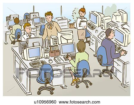 Stock Illustrations of People in office, working, high ...