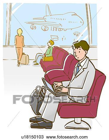 手绘图 - 商人, 使用笔记本电脑