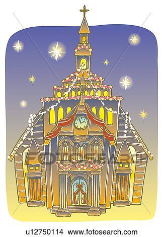 Dessins peinture de glise no l illumination - Eglise dessin ...