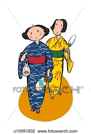 clip art of two young adult woman enjoying summer festival full rh fotosearch com