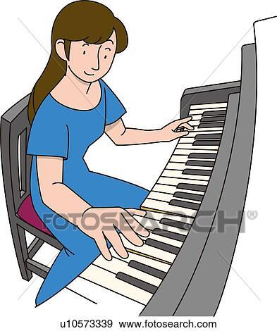 Stock Illustration - frau, wer, spielen, dass, klavier ...