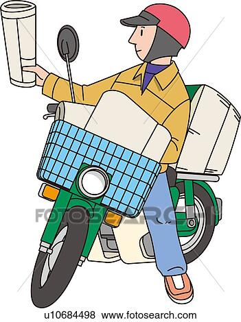 Stock Illustration of Newspaper Delivery Man, Illustrative ...