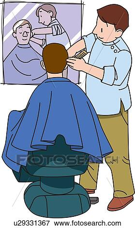 Clip Art Barber Clipart stock illustration of barber illustrative technique u29331367 fotosearch search eps clipart drawings