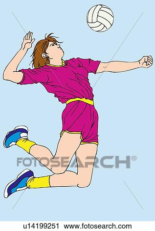 Clipart of Painting of a female volleyball player spiking ...
