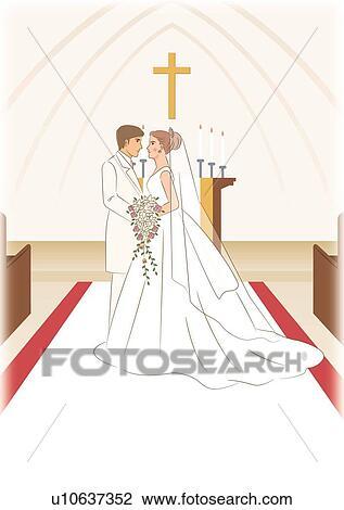 clipart nuptial couple debout face face dans glise vue c t u10637352 recherchez. Black Bedroom Furniture Sets. Home Design Ideas