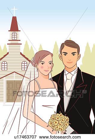 banque d 39 illustrations nuptial couple debout c te c te devant glise mari e tenue. Black Bedroom Furniture Sets. Home Design Ideas