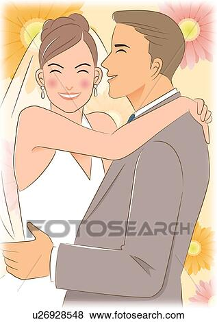 Stock Illustration of Bride putting arm around shoulder of groom ...