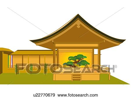 Stock Illustration of Stage for Noh, front view, Japan u22770679 ...