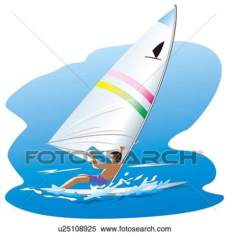 Man Windsurfing On Sea