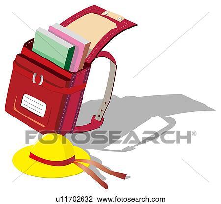 Clipart cartable et chapeau u11702632 recherchez des - Clipart cartable ...