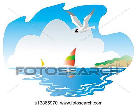 Galleria di illustrazioni gabbiano mare volare su il for Clipart mare