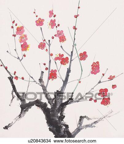 zeichnungen pflaumenbaum mit rote blumen niedrige winkelsicht u20843634 suche clip art. Black Bedroom Furniture Sets. Home Design Ideas