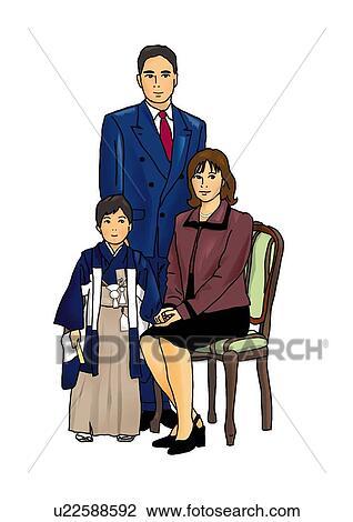cut outs for art clip art of portrait of japanese family in formalwear boy in