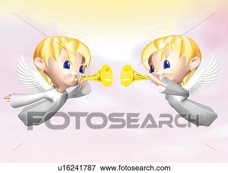 Stock Illustration of Two angels blowing horns, CG, 3D ...
