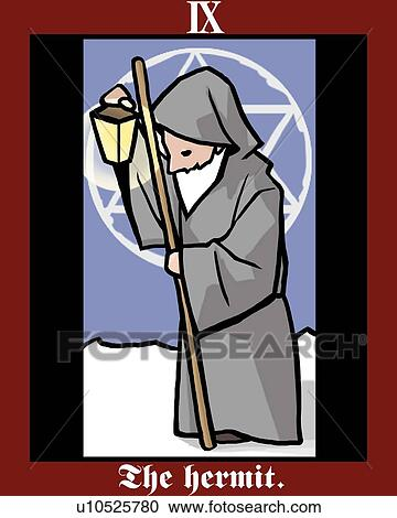 Stock Illustrations of The Hermit, tarot card, side view ...